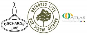 The logos of Orchards Live, Our School Orchard and Atlas Packaging